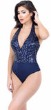 Navy Deep V Sequin Bodysuit - Emprada