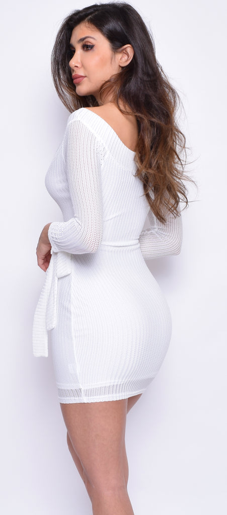 Stella White Long Sleeve Wrap Dress