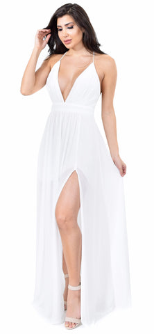 Aurora White Front Slit Maxi Dress