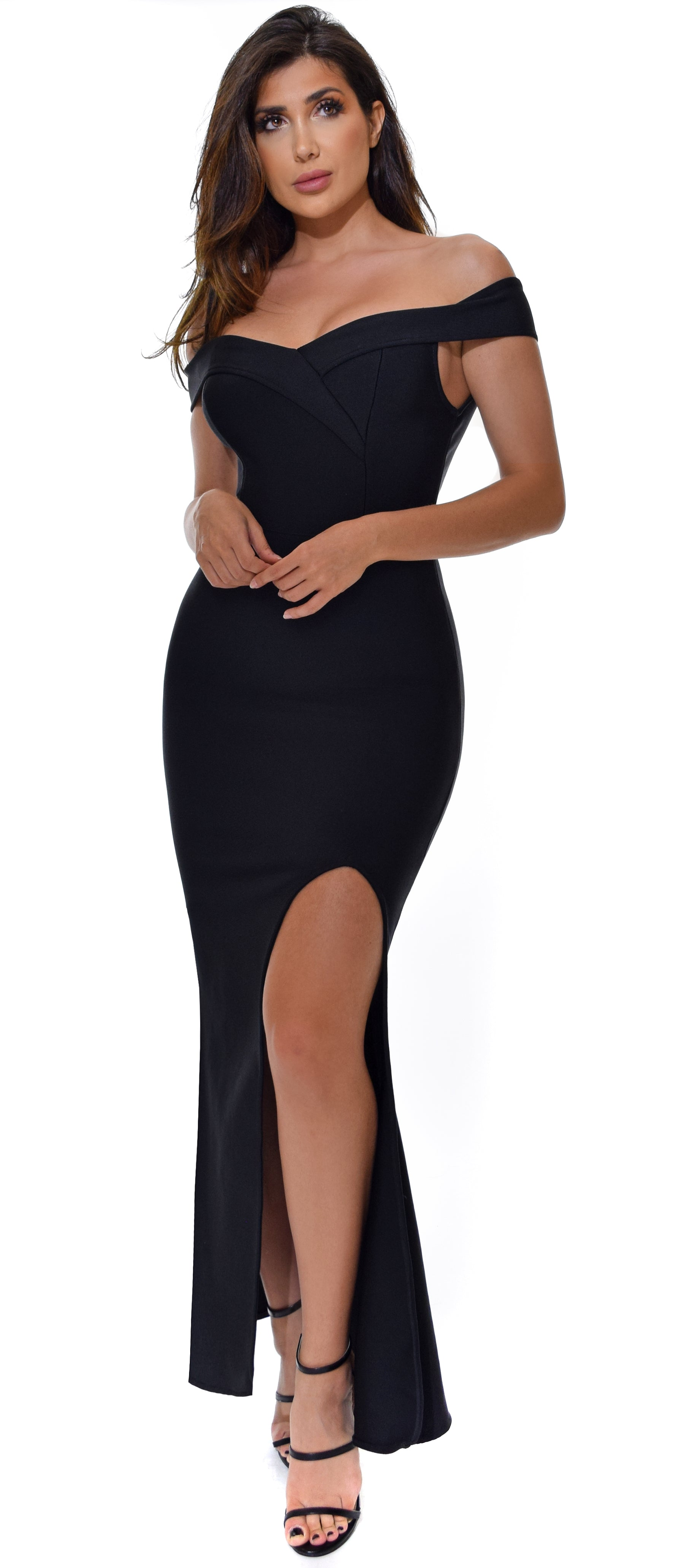 Anvi Black Off Shoulder Slit Bandage Maxi Dress - Emprada