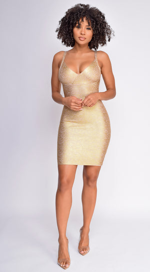 Azariah Gold Bandage Dress