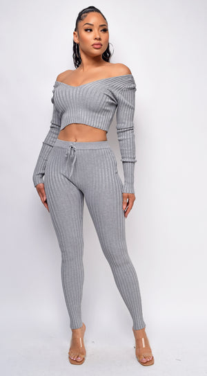 Mel Grey Ribbed Off Shoulder Set