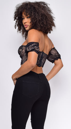 Petal Black Lace Puff Sleeve Bustier Top