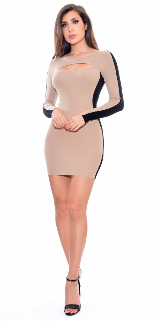 Cortney Beige Color Block Dress - Emprada