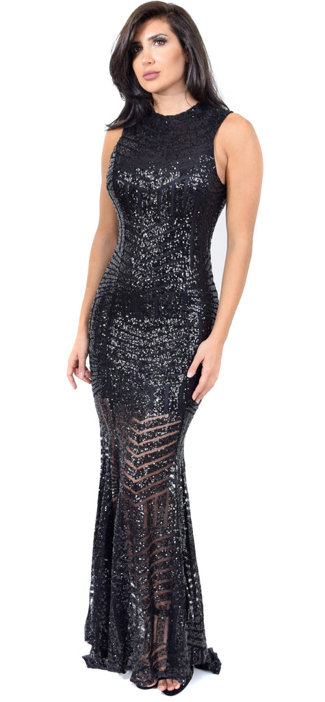 Yara Black Sequin Open Back Gown