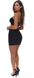 Valeria Black Rhinestone Top And Skirt Set