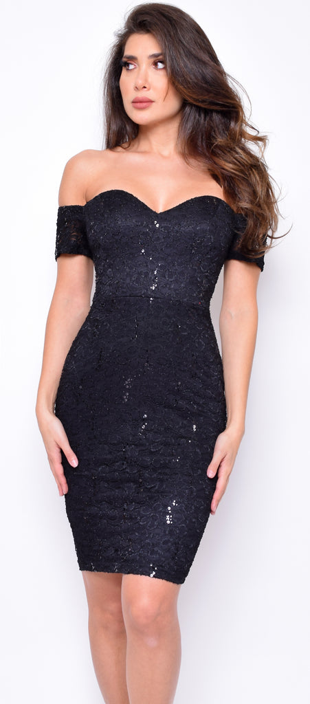 Adana Black Sequin Lace Off Shoulder Dress - Emprada