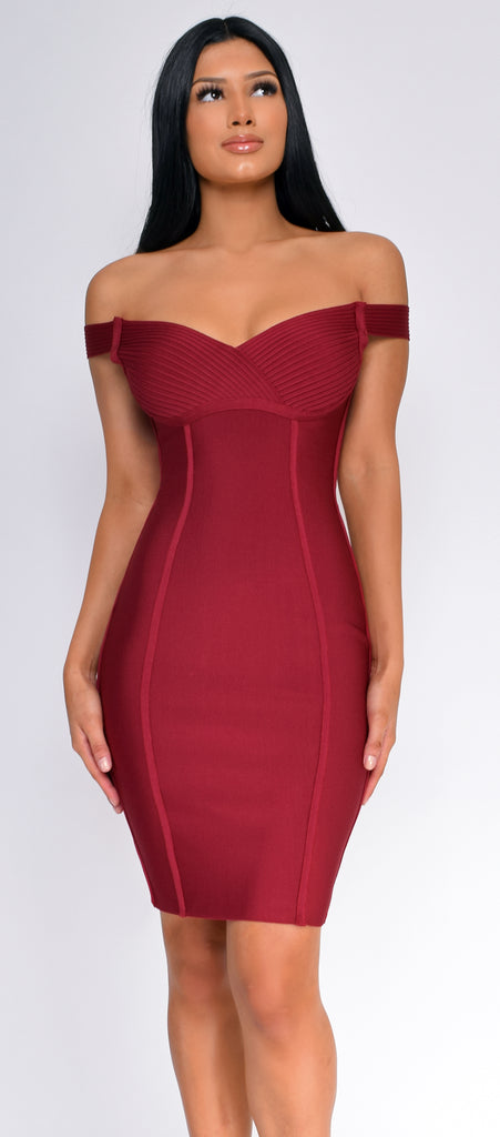 Zaylee Wine Red Off Shoulder Bandage Dress