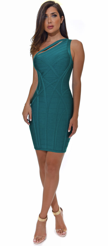 Jocelyn Blue Teal One Shoulder Bandage Dress