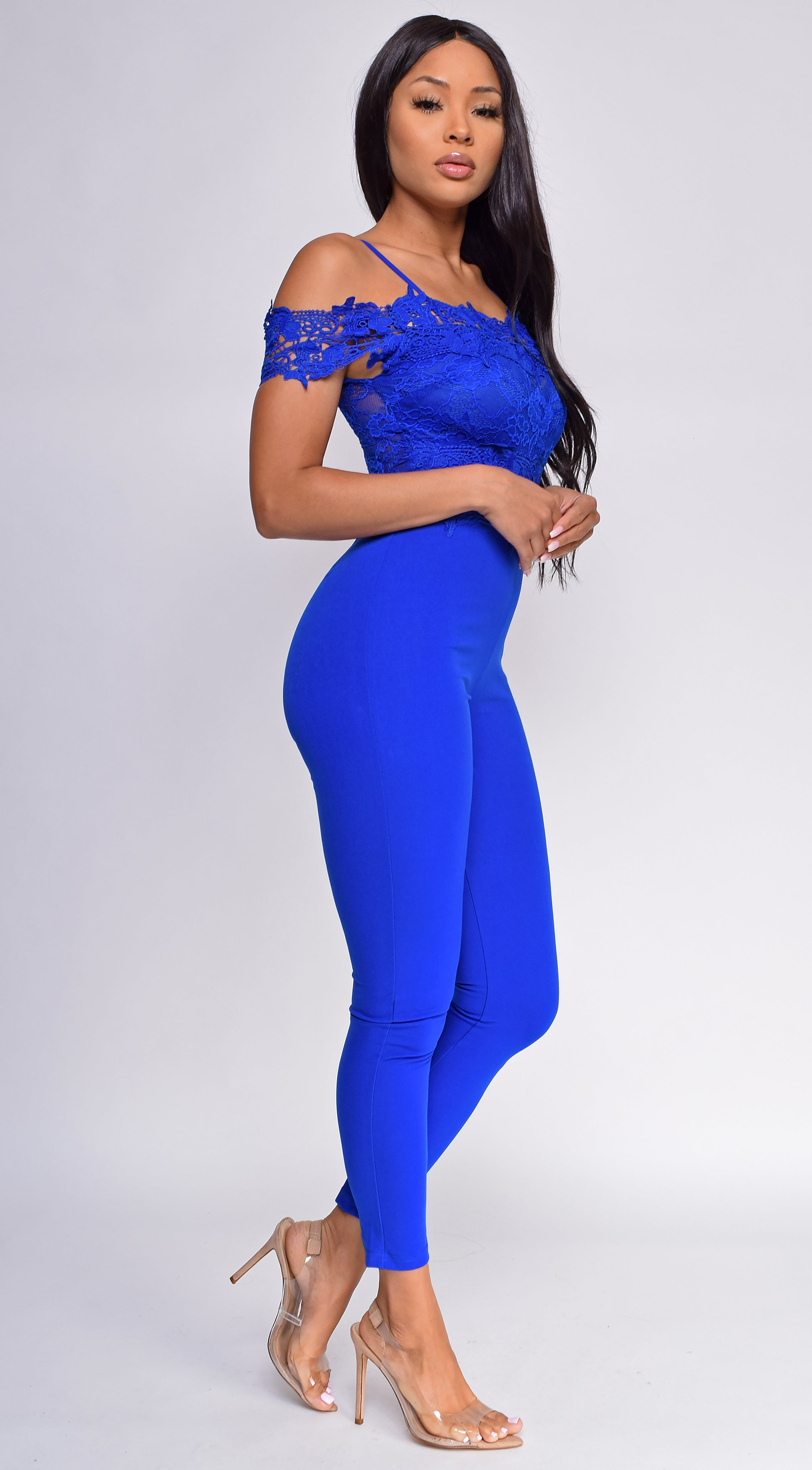 Drema Royal Blue Crochet Lace Off Shoulder Jumpsuit