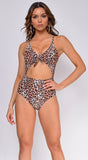 Moala Brown Cheetah Print Knotted Front Monokini