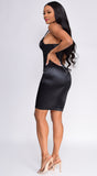 Dresden Black Bustier Satin Dress