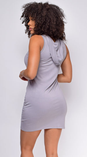 Reva Grey Sleeveless Hoodie Dress