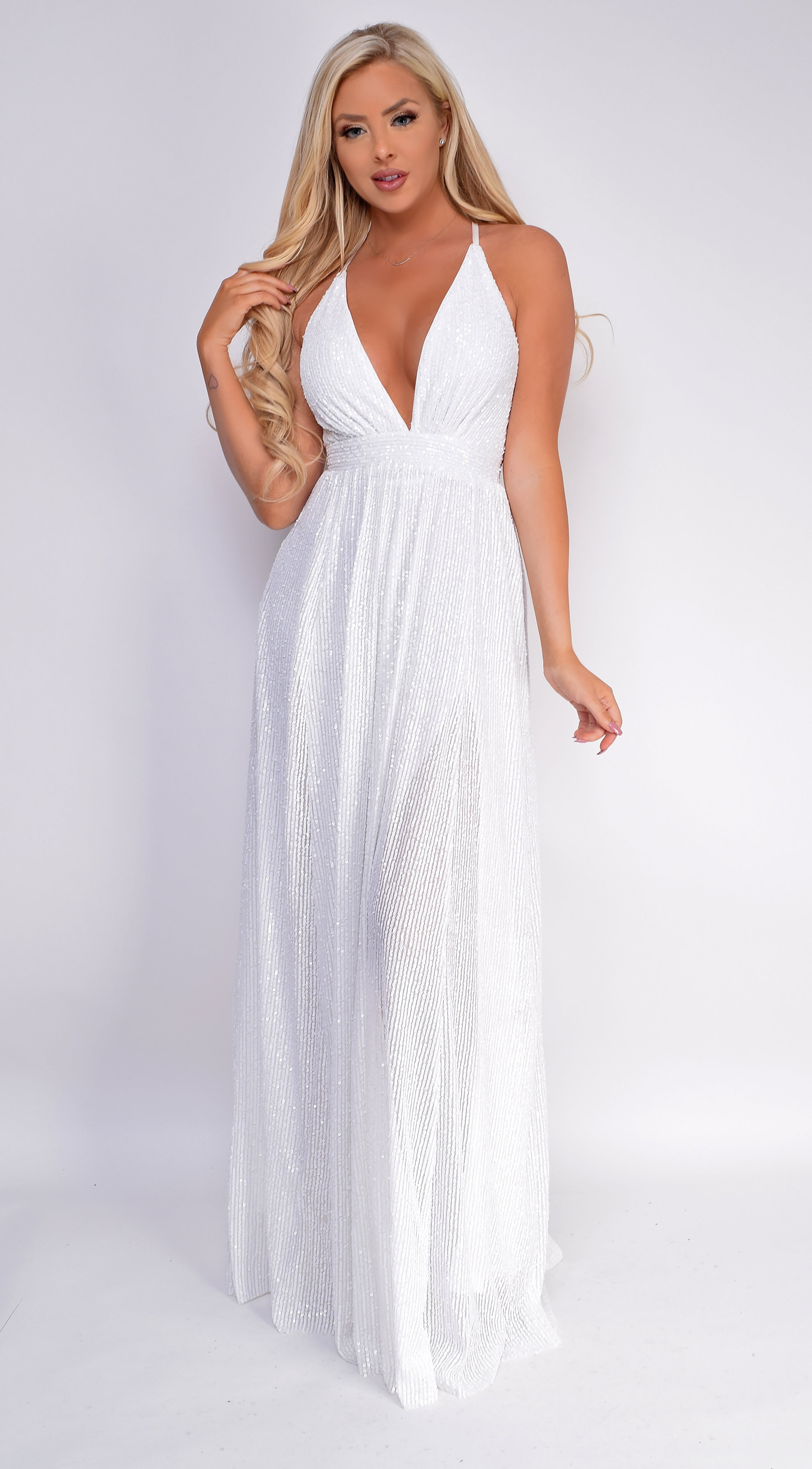 Renetta White Sequin Gown