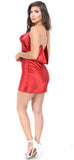 Red Satin Back Drape Dress - Emprada