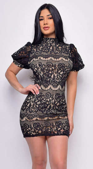 Captivate Black Nude Lace Short Puff Sleeves Mini Dress