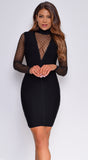 Cressida Black Mesh Deep V Neck Bandage Dress