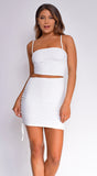 Maritza Off White Side Cutout Ruched Dress
