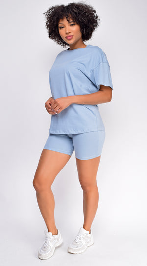 Oversized Blue T-Shirt And Biker Short Two Piece Set