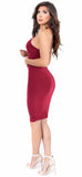 Deanna Burgundy Midi Dress - Emprada