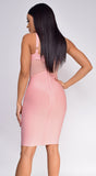 Casella Pink V Neck Bustier Mesh Bandage Dress