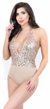 Gold Deep V Sequin Bodysuit - Emprada