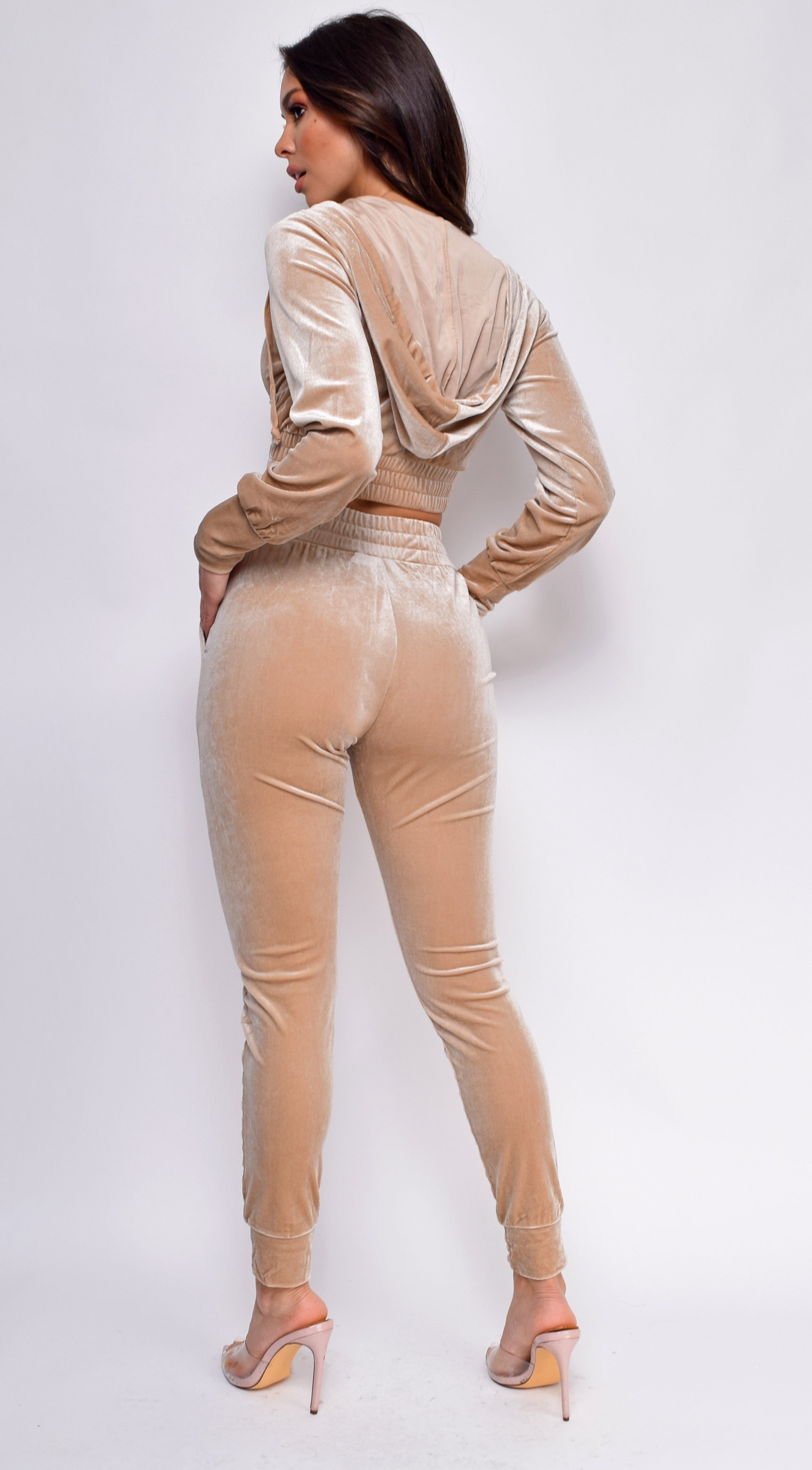 Chill Out Beige Velour Crop Hoodie Set