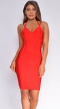 Jasper Red Halter Bandage Dress