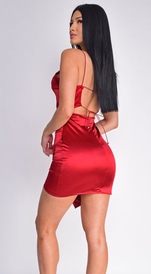 Reece Wine Red Satin Wrap Tie Back Dress