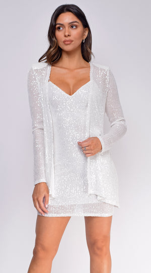 Monica White Sequin Dress And Jacket Set