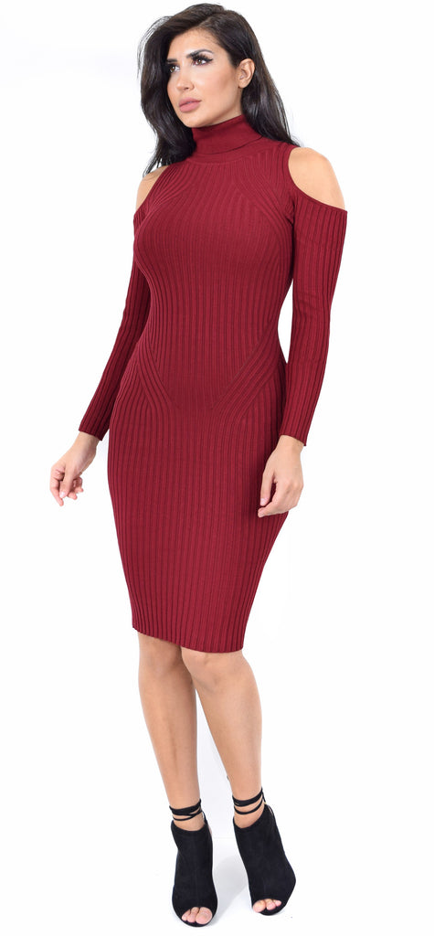 Audrina Mock Neck Burgundy Cold Shoulder Dress - Emprada