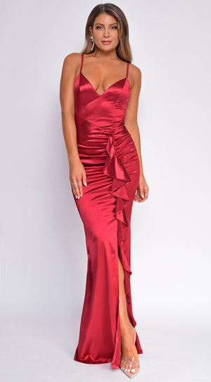 Razan Burgundy Red Ruched Ruffled Satin Gown