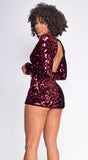 Marcellina Burgundy Red Deep V Neck Sequin Velvet Romper