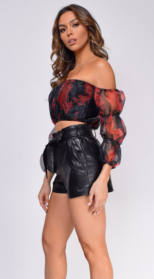 On Fire Black Organza Off Shoulder Crop Top