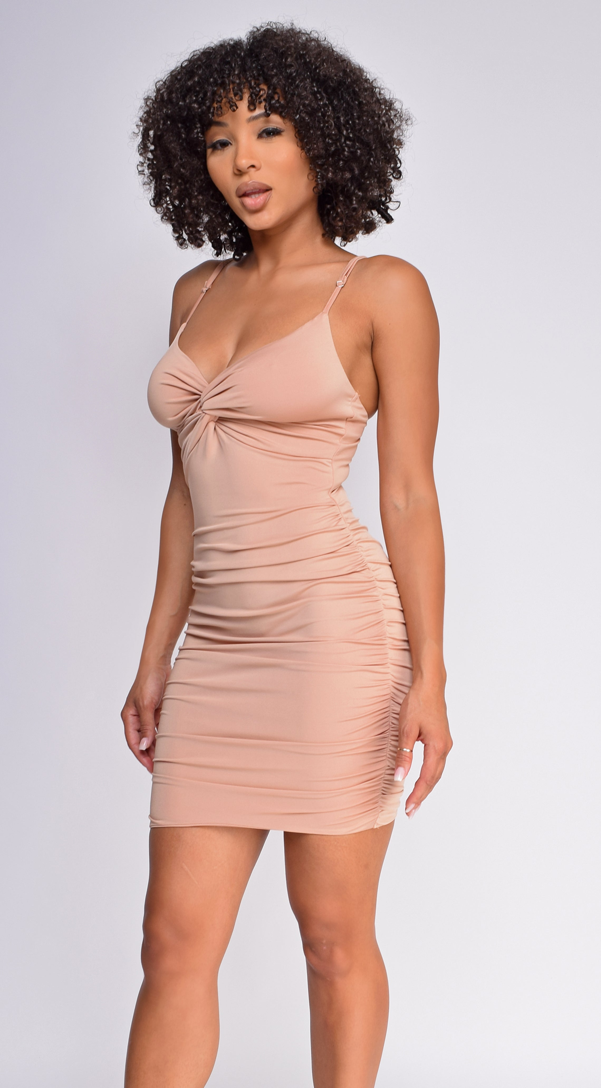 Ayana Nude Front Twist Ruched Dress