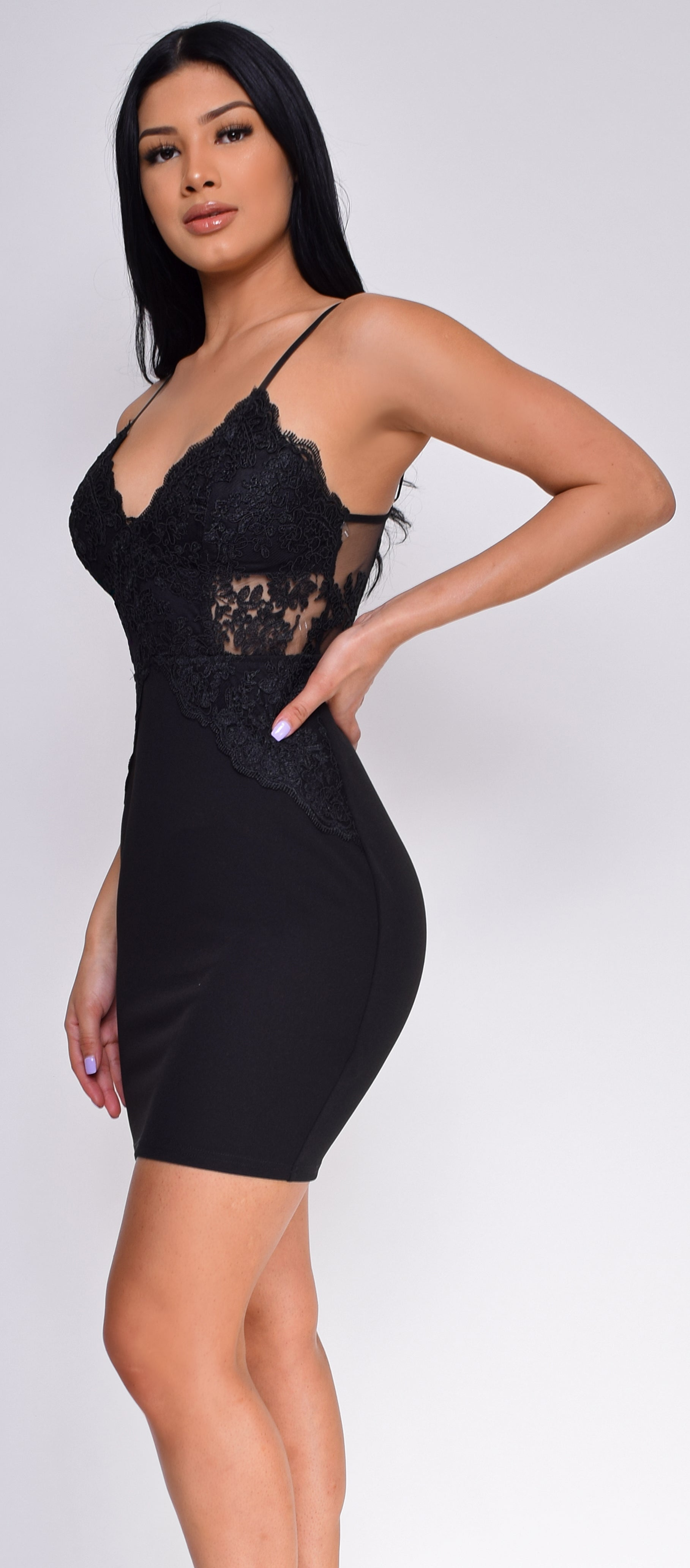 Cleora Black Embroidered Lace Dress - Emprada