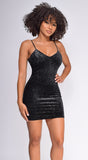 Elliana Black Velvet Sparkle Dress