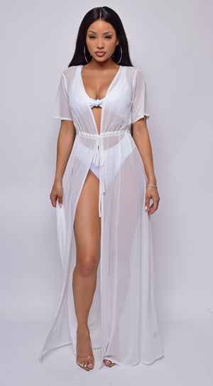 Milos White Mesh Drawstring Open Front Cover-up Dress