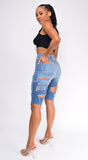 Polar Blue Cut Out Distressed Bermuda Super High Rise Denim Shorts