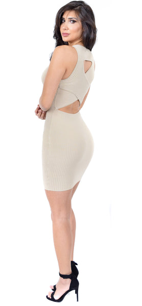 Taupe Ribbed Cross Back Tank Dress