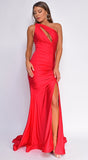 Katana Red One Shoulder Ruched Slit Gown