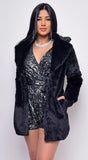 Enrich Black Faux Fur Coat