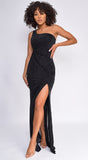 Averie Black One Shoulder Glitter Maxi Dress