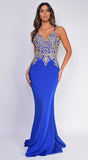 Cecelia Royal Blue Gold Beaded Gown