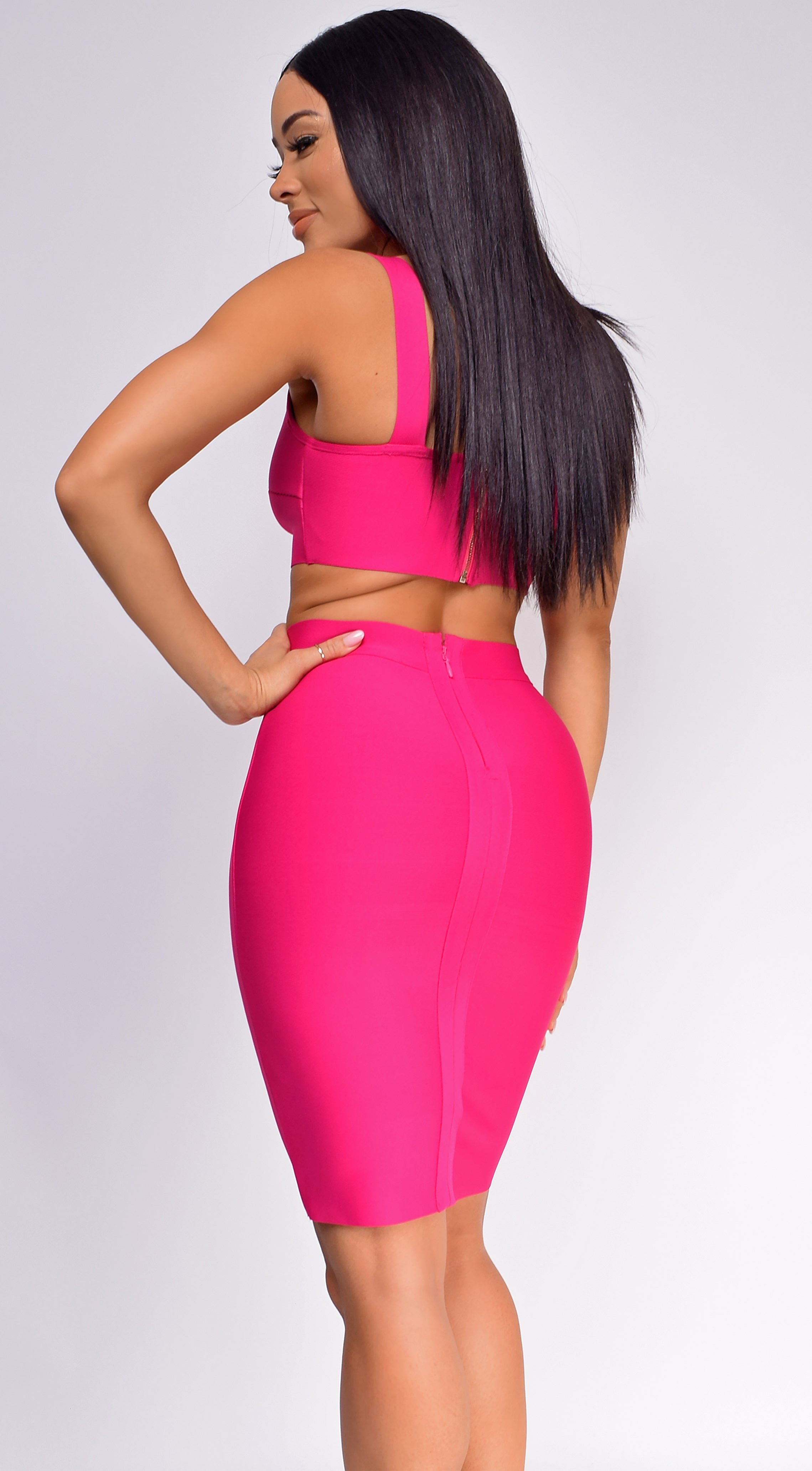 Milly Hot Pink Bandage Top And Skirt Set