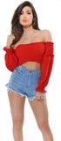 Tula Red Elastic Smocked Off Shoulder Top - Emprada