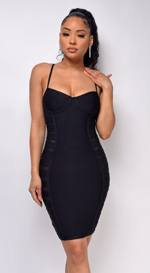 Sarsha Black Cut Out Mesh Bandage Dress