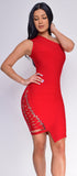 Charlyn Red Side Lace Up One Shoulder Bandage Dress - Emprada