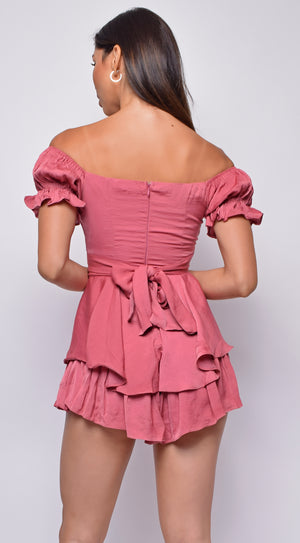 Meena Pink Rose Off Shoulder Ruffled Romper