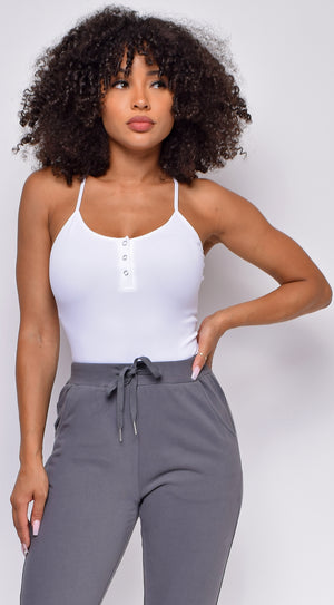 Keep Rib White Button Front Bodysuit